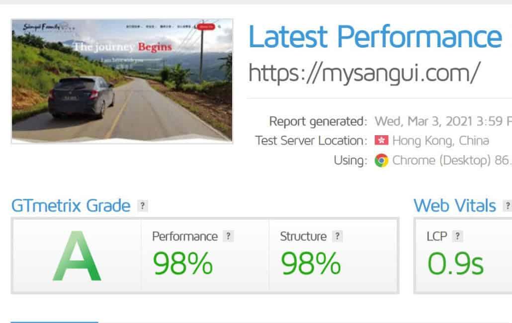 gtmetrix Performance Rebort